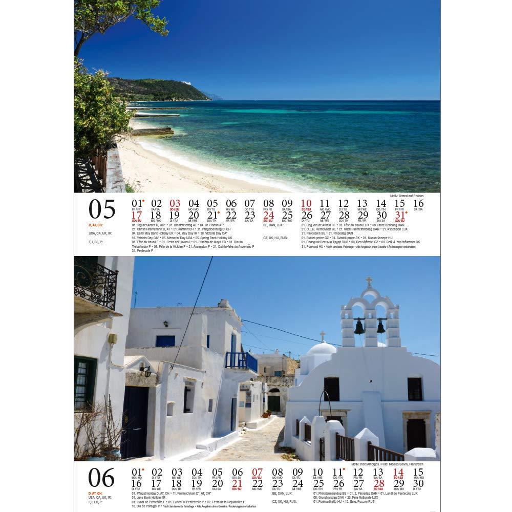 2020 set regalo Grecia: oltre 1 biglietto di auguri e 1 biglietto di Natale magia di anima. magico calendario da tavolo DIN A5 Grecia