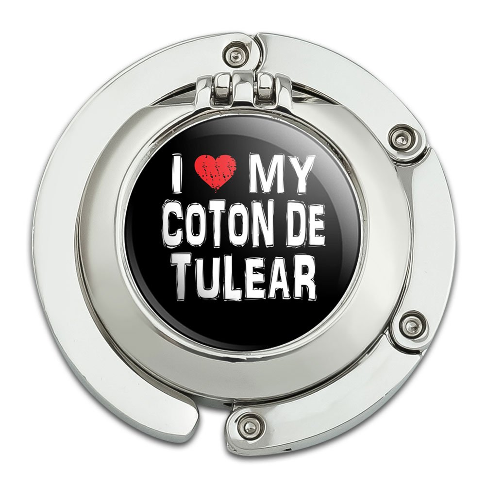 I Love My Coton De Tulear Stylish Foldable Table Bag Purse Caddy Handbag Hanger Holder Hook with Folding Compact Mirror
