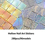 Newbested 288 Pieces 96 Designs Nail Vinyl Stencils Nail Art Decoration Stickers Set Nail Art Design Stickers Tips Decals, 24 Sheets Cute Easy Nail Art Decal Stickers Stencils.