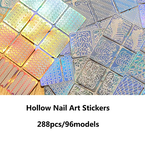 Newbested 288 Pieces 96 Designs Nail Vinyl Stencils Nail Art Decoration Stickers Set Nail Art Design Stickers Tips Decals, 24 Sheets Cute Easy Nail Art Decal Stickers Stencils. by Newbested