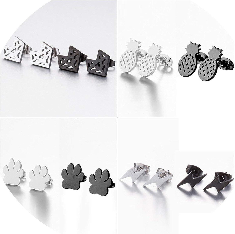 Stainless Steel Fox Stud Earrings For Women Girls Cute Animal Paw Earings Pineapple Lighting Earrings Jewelry Gifts,Snowflake Earring072,Silver Earrings