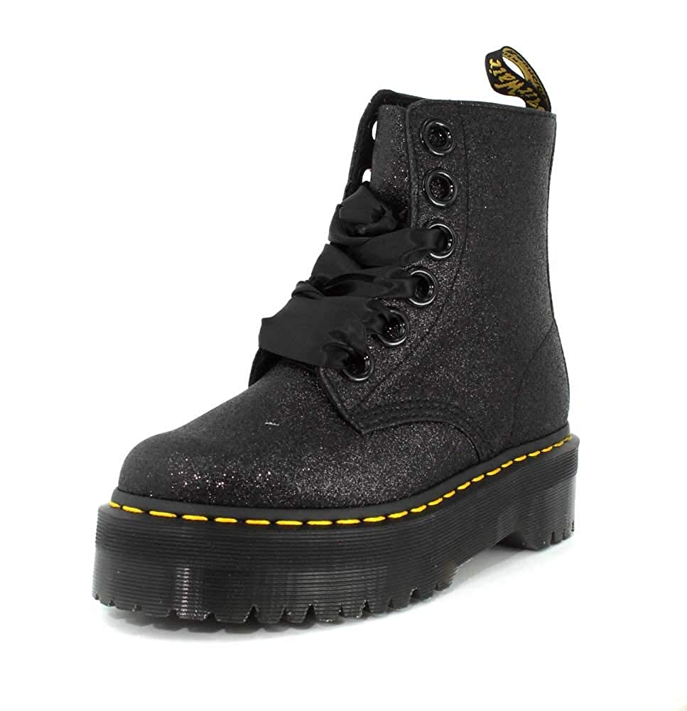 Black Dr.Martens Womens Molly Glitter Glitter Synthetic Boots