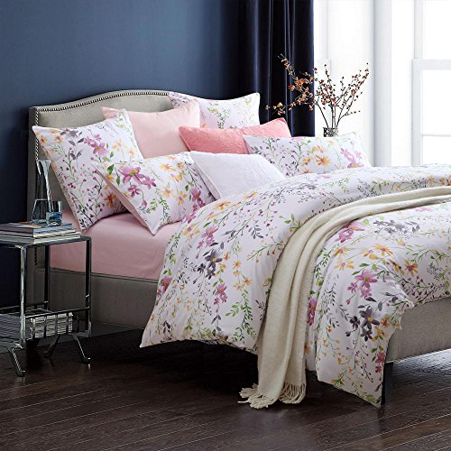 Cotton Egyptian Cotton Print (Brandream Home Collections Exquisite Floral Print Luxury Duvet Quilt Cover Cosy & Durable Cotton 3pc 400-Thread-Count Bedding Set with Button Closure (Queen))