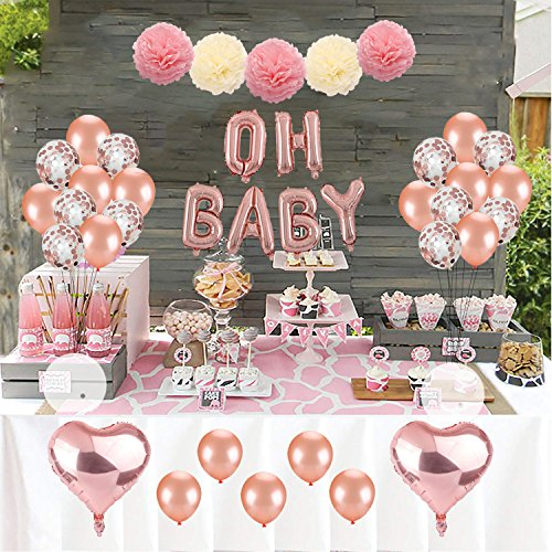 Kwayi Baby Shower Decoration Set, Rose Gold Theme Baby Shower Decoration with OH Baby Banner Rose Gold Balloon and Tissue Paper Pom Poms Toal 35PCS for Baby Shower Party Decoration
