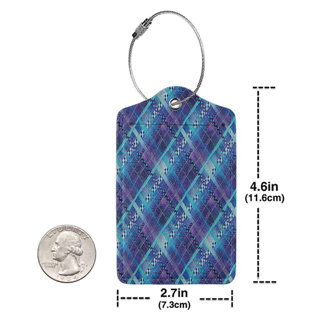 Modern luggage tag Navy Blue Decor Complex Structured Different Lines And Patterns Polka Dots Tiles Stripes Patch Work Suitable for children and adults Purple Blue W2.7 x L4.6