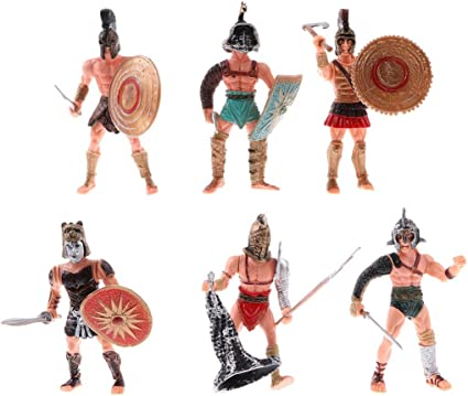 Set of 6 Gladiator Warrior Fighter Roman Soldier Action Figures w//Weapons