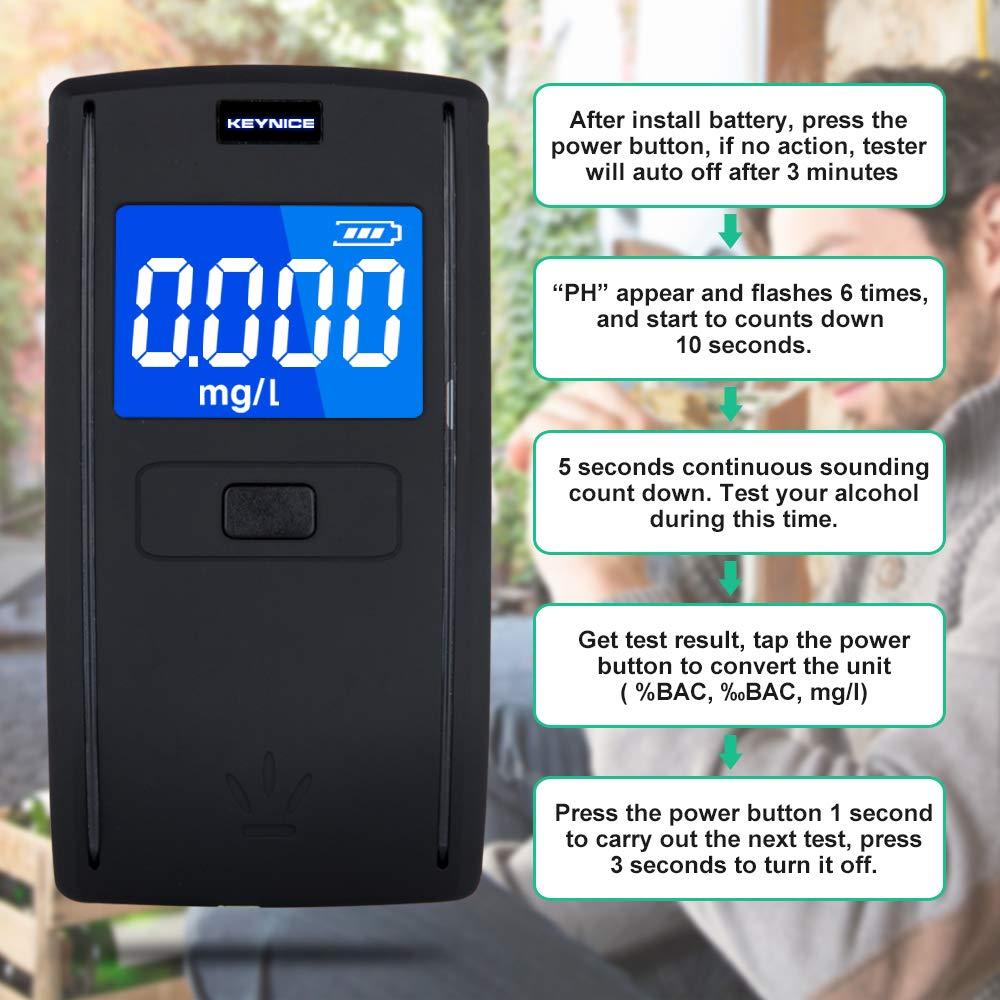 Testeur dalcool à Capteur Semi-Conducteur Test Alcoolémie avec 4 Embouts et 3 Piles Alcalines AAA Ethylotest Portable avec Ecran LCD KEY NICE Alcootest Numérique