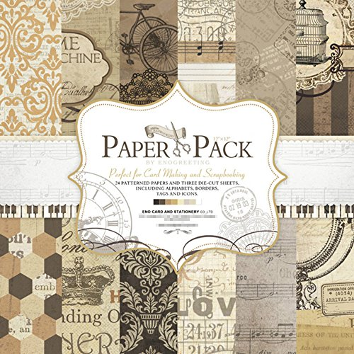 flic-flac 27 Sheets 12-Inch by 12-Inch Craft Paper Pad Cardstock Pad Photo Background Decorative Paper Card Vintage Design PS003 ¡ - 12' Die Cut Cardstock