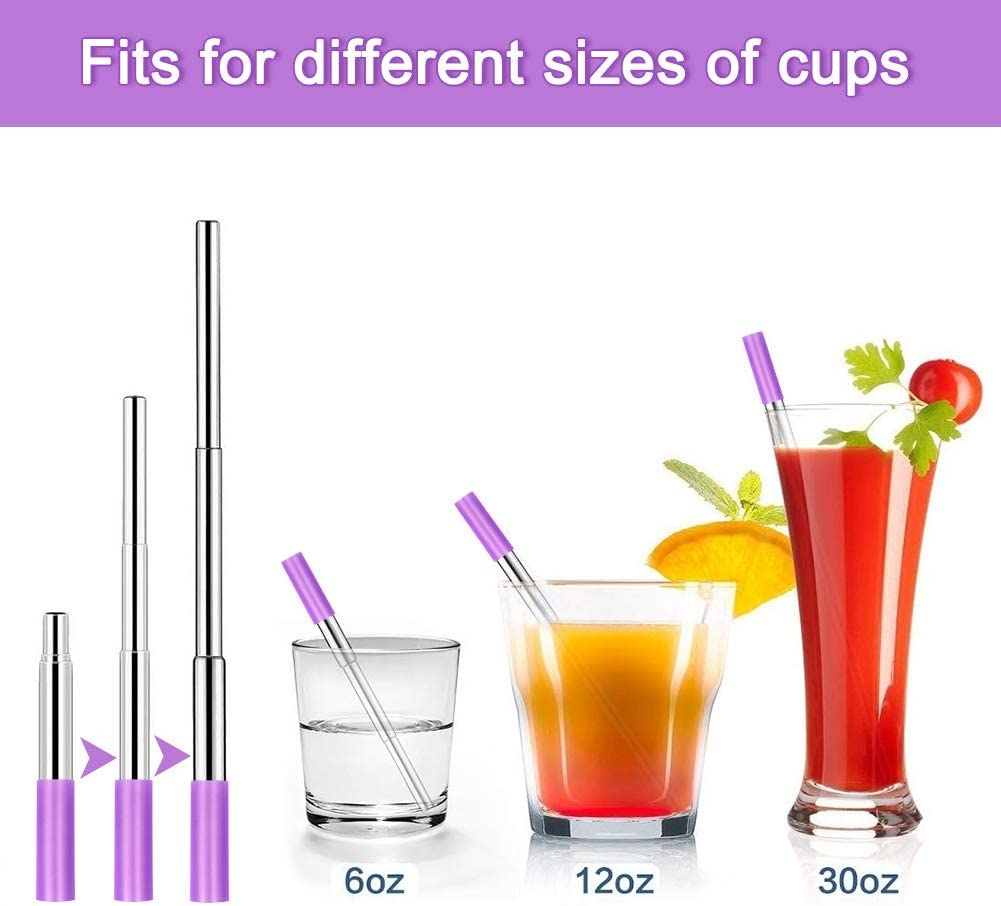 Joeleli 2 Pack Telescopic Reusable Straws Portable Stainless Steel Drinking Straw with Telescopic Cleaning Brush Rose Gold and Black Case and Keychain