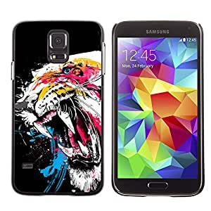 Qstar Arte & diseño plástico duro Fundas Cover Cubre Hard Case Cover para SAMSUNG Galaxy S5 V / i9600 / SM-G900F / SM-G900M / SM-G900A / SM-G900T / SM-G900W8 ( Tiger Roar Teeth Art Watercolor Painting Neon)