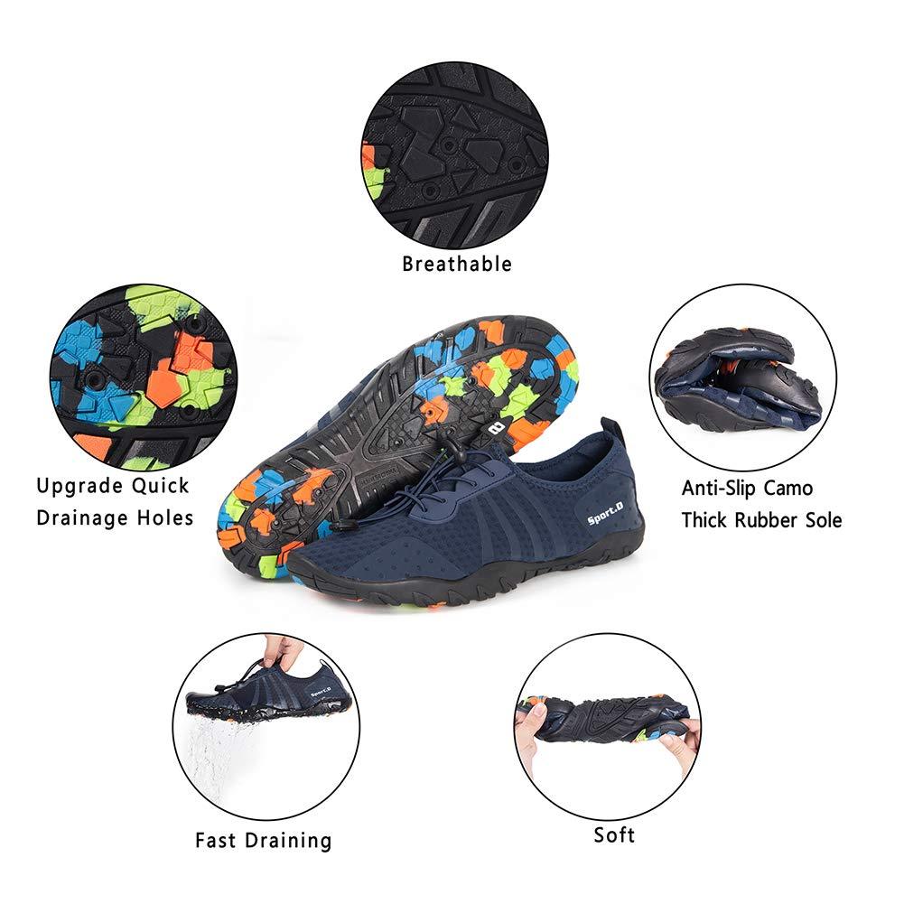 YALOX Water Shoes Men's Women's Outdoor Beach Swim Aqua Socks Quick-Dry Barefoot Shoes for Surfing Yoga Pool Exercise(8080-Blue,44EU) by YALOX (Image #7)