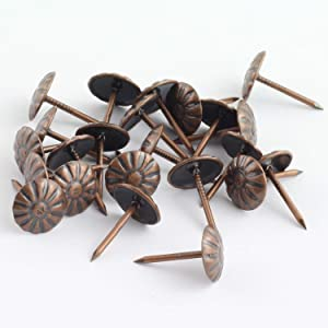 RuiLing 150pcs Upholstery Tacks Stud Elegant Vintage Antique Brass Pushpin Doornail Round Dome Head Furniture Decoration Nails Pins Red Bronze 11x17mm