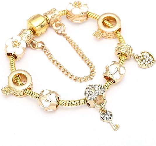 Amazon Com Freelove Kawaii White Glaze Flower Crown Lock Key Beads Fit Original Pandora Bracelet Love Bracelets Gold Color Bangles For Women Jewelry Jewelry