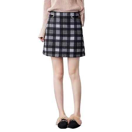 LINSYT Falda larga a cuadros de cintura alta con cuadros de mujer ...