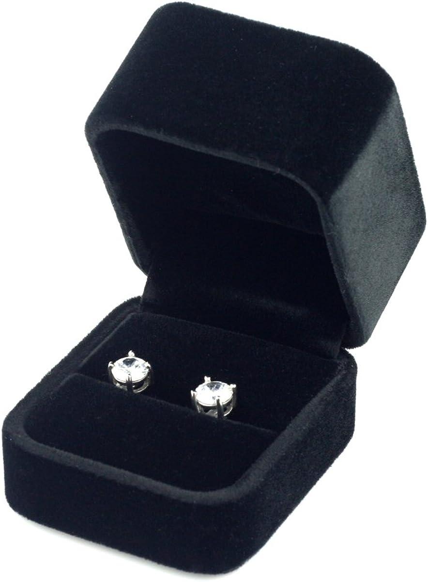 schwarz Premium hohe quadratische lang-Pile-Velvet Ring Box//Geschenkbox Mit Schleife aus Band//Marineblau