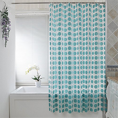 Bed Hampton Inn (Mildew Resistant Waterproof/Water-Repellent PEVA White Shower Curtain decorated with blue circular patterns 70 x 86 inch approx)