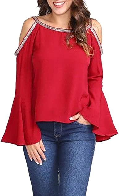 Women/'s Cold Shoulder Long Sleeve T-Shirt Ladies Casual Blouse Sequin Tops Shirt