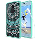 Case Samsung Galaxy J3 2018/Eclipse 2/Prime 2/Express Prime 3/J3 Emerge 2018/J3 Orbit/J3 Achieve/Amp Prime 3 Phone Case Clear,Anoke Mandala Cover with Screen Protector for Girls Women j3 2018 TM Mint