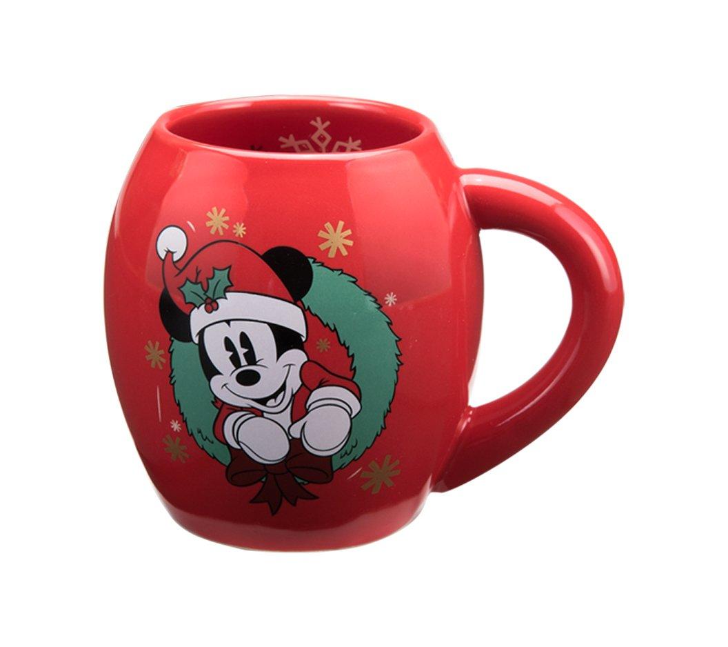 Vandor 89361 Disney Mickey Mouse Holiday 18 Ounce Oval Ceramic Mug  Red