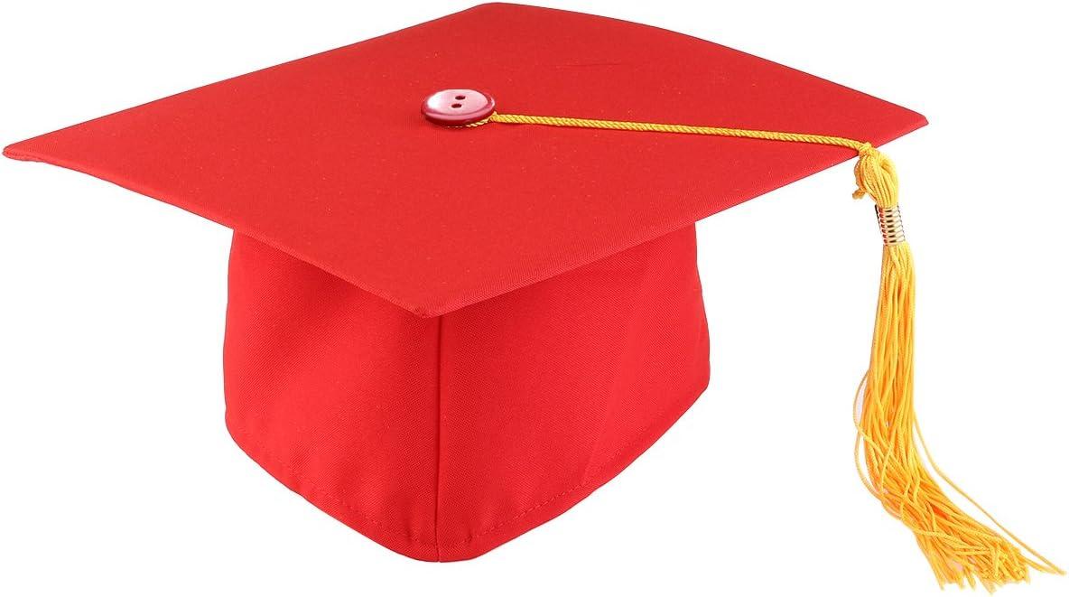 SUPVOX Sombrero de Estudiante Graduado Gorra de graduación Accesorio del Traje de la Fiesta de graduación para los Adultos Ajustables (Rojo + Amarillo)
