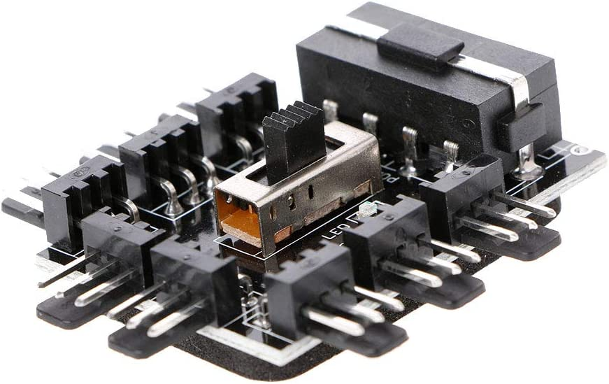 Huilier PC IDE Molex 1 to 8 Way Splitter Cooling Fan Hub 3-Pin 12V Power Socket PCB Adapter