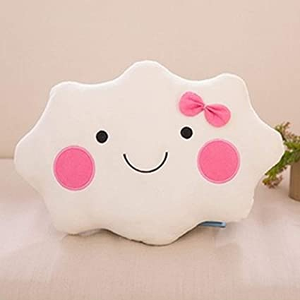 JEWH Kawaii Soft Smiley Face Bow Cloud Pillow Cotton Stuffed Cushion - Plush Doll Toys White