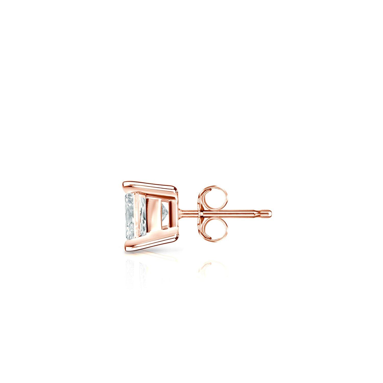 14k Rose Gold Princess Diamond Simulant CZ SINGLE Stud Earrings 4-Prong(1/3ct,Excellent Quality)