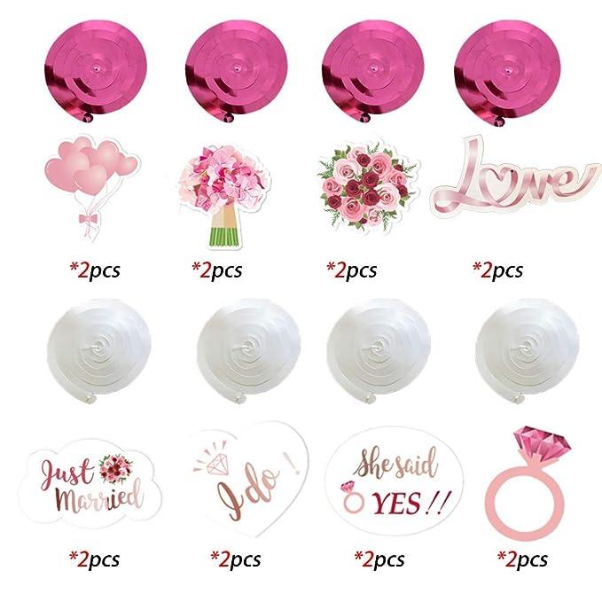 JoyTplay Hochzeitsparty Bridal Shower Dekorationen,30 Teilig Rosa Wei/ß Deckenh/änger Spiral Girlanden mit Flower f/ür Hochzeit Team Braut Dusche Henne Nacht Party