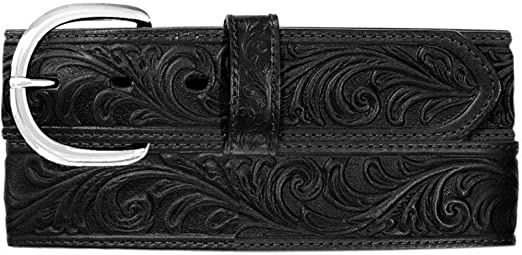 Justin Western Mens Belt Leather Scroll Tooled Made In The USA Black 53903