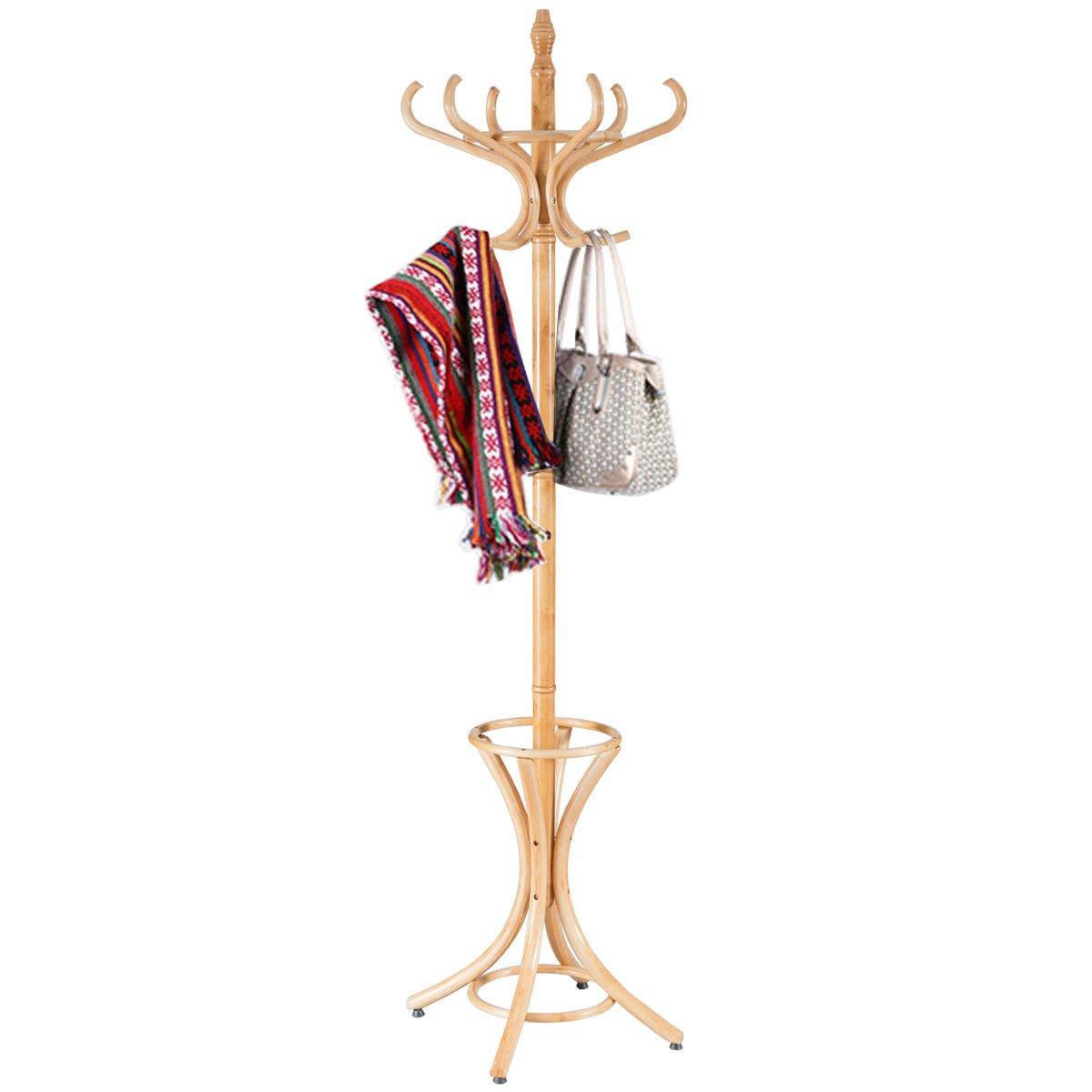 MRT SUPPLY Wood Standing Hat Coat Rack Jacket Bag Hanger Tree 12 Hooks w/Umbrella Stand with Ebook