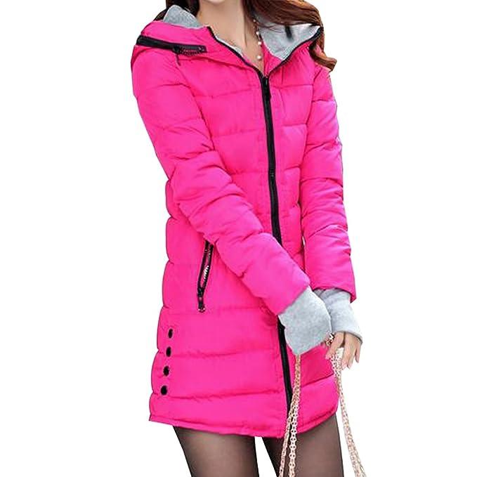 BOZEVON Abrigo de Cremallera Acolchado Chaqueta Largo con Capucha de Manga Larga para Mujer Invierno
