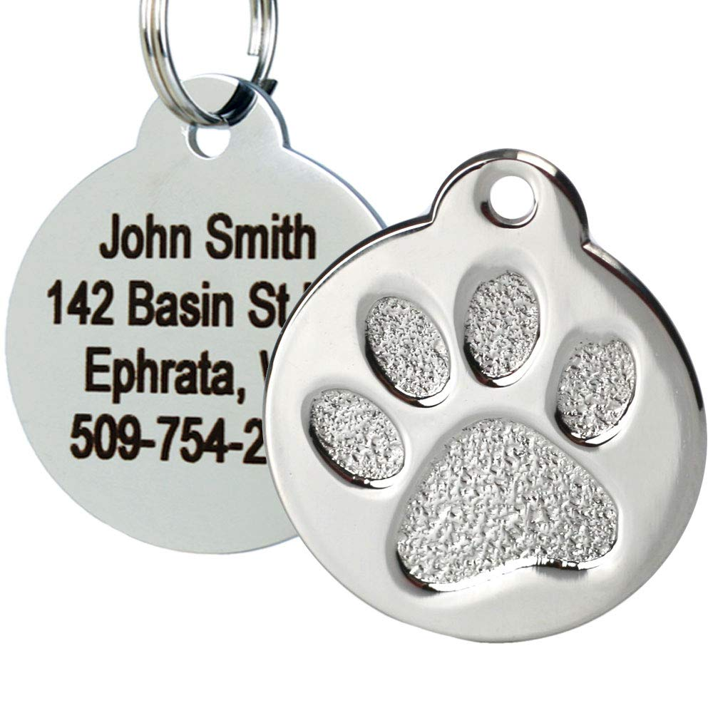 GoTags Paw Print Round Stainless Steel Pet Tag