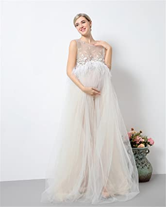 038a5de3a0268 Amazon.com: DVOTINST Photography Props Maternity Dresses for Photo Shoot,  Elegant and Soft Pregnancy Dress Pregnant White Lace Perspective Studio  Prop: ...