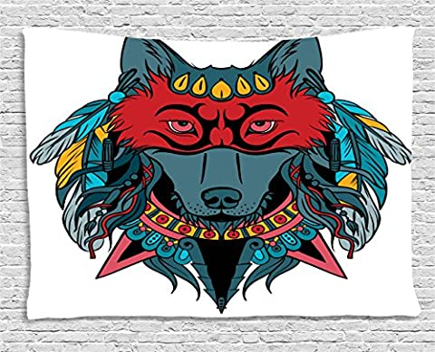 Tribal Tapestry by Ambesonne, Indian Warrior Wolf Portrait with Mask Feathers Native American Animal Art, Wall Hanging for Bedroom Living Room Dorm, 80 W X 60 L Inches, Teal White and - Native American Art Masks
