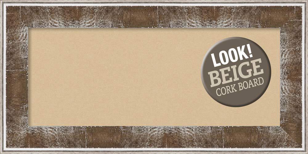Amanti Art Tan Cork Farmhouse Brown Framed Bulletin Boards, 36 x 18,