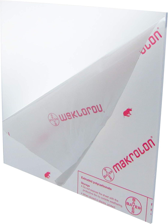 """Lexan Makrolon Polycarbonate Sheet  Clear  0.250"""" 1//4/""""  x 24/"""" x 36/"""""""