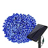 Solar String Lights 77ft 220 LED Fairy Lights,8 Modes Outdoor String Lights Waterproof Blue Christmas Decorative Ambiance Lighting for Patio,Lawn,Garden,Home,Wedding,Holiday,Xmas Tree/USB Charge