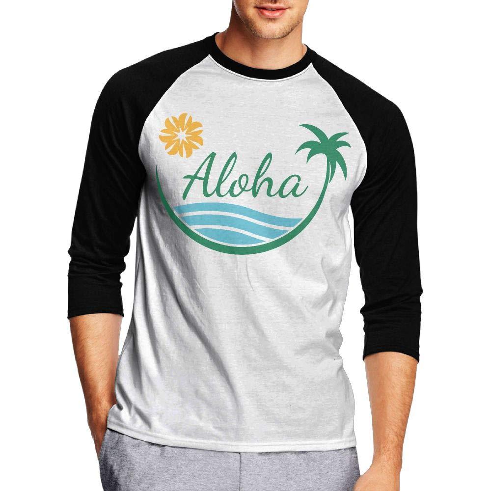 KI70CNY/&0 Mens 3//4 Sleeve Crew Neck Basic Shirts Hawaii with Palm Tree Raglan Baseball Sports T-Shirts