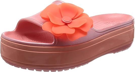 Crocs Crocband Platform Vivid Blooms Slide Sandal, Melon 9 US Men/ 11 US Women M US