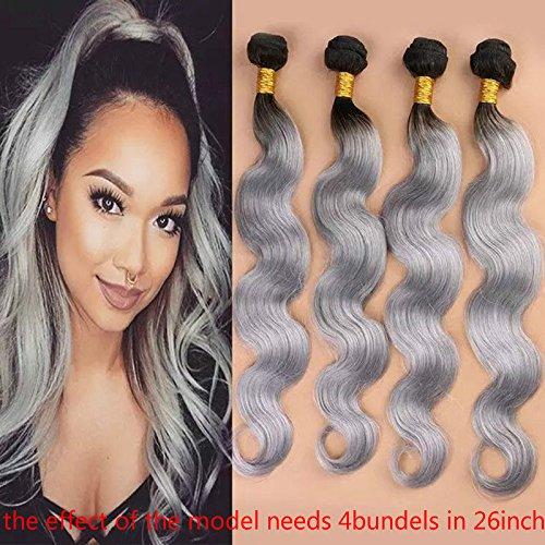 Amazon black grey hair weave two tone ombre 1bsilver gray new ombre grandma grey brazilian body wave hair bundles1pc lot 1b silver grey 2 pmusecretfo Images
