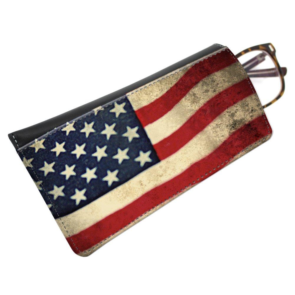 Snaptotes American Flag Patriotic Leather Eyeglass Case