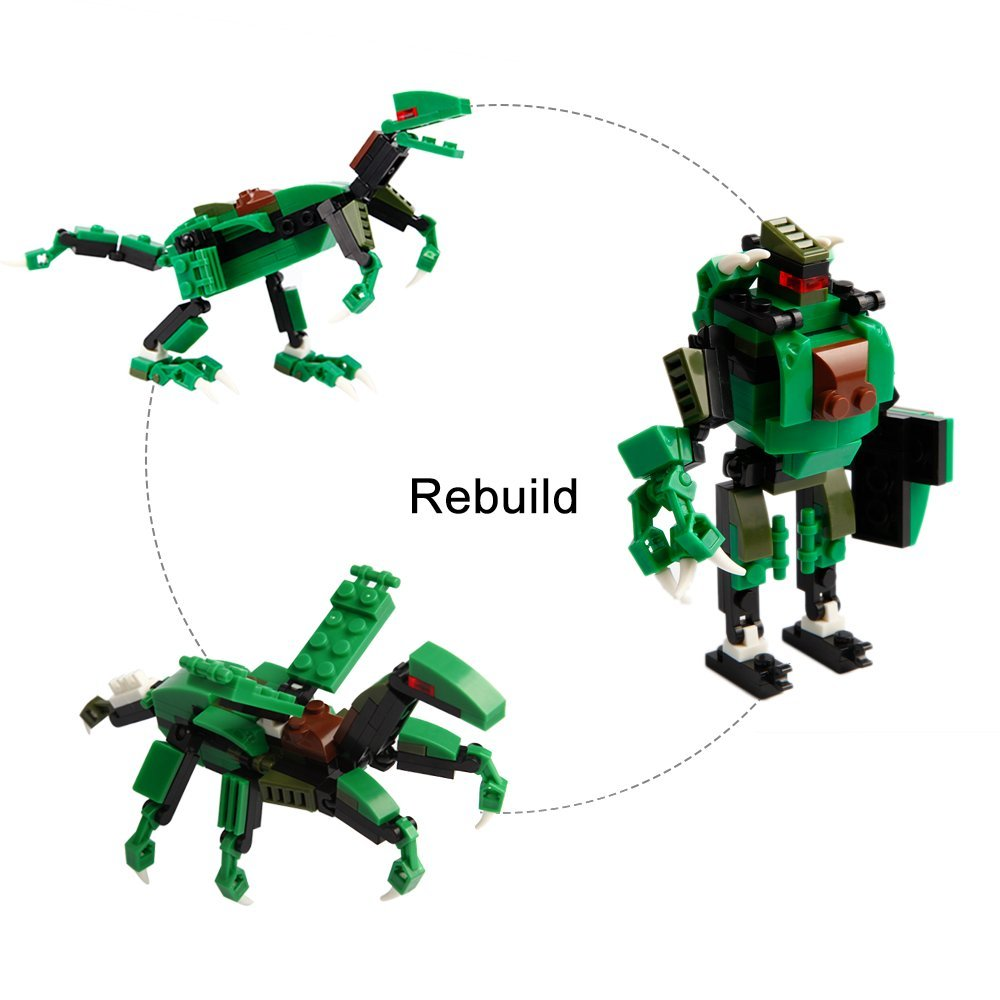 BigSmyo Dinosaur Building Blocks Kids Boys Dinosaur Toys Set 417 Pcs 3x4 12 Deformation Colorful Interlocking Building Toy