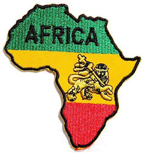 African Map The Lion of Judah Rasta Rastafari Jamaica Reggae Logo Jacket T shirt Patch Sew Iron on Embroidered Badge Sign Costume
