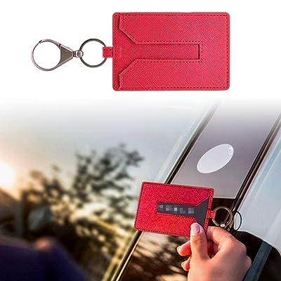 KE-KE Card Holder for Tesla Model 3Leather Protector Cover Key Card Keychain Metal Accessories (Red): Automotive