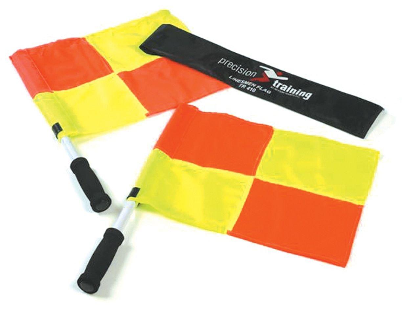 Precision - Coppia bandiere guardalinee, custodia inclusa, colore: arancio/giallo