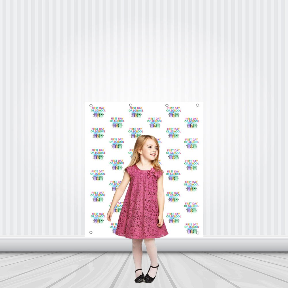 First Day of School Books Step Repeat Photo Backdrop