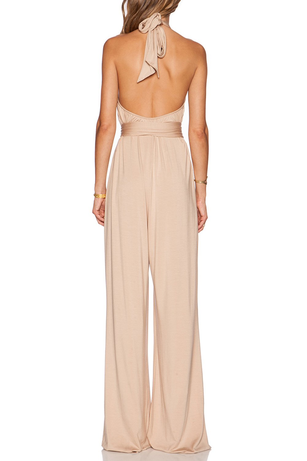 MARSEN Women's Halter Backless Rompers Long High Neck Party Jumpsuits with Belt Nude Size 6 by MARSEN (Image #2)