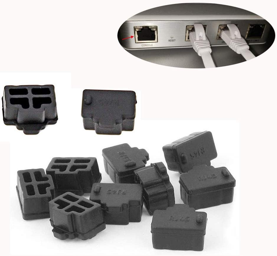 Ohaha 16Pcs Black Ethernet Hub Port RJ45 Anti Dust Cover Cap Protector Plug for RJ45 Female Jack