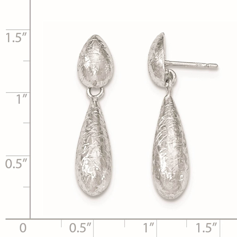 925 Sterling Silver Rhodium-plated Textured Teardrop Dangle Post Earrings