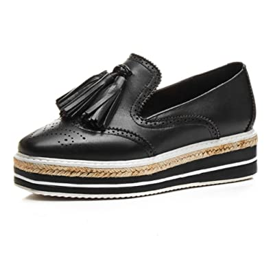 cd865e8714e6 MINIVOG Womens Perforated Tassels Wingtip Flats Black Leather Retro Brogue Oxfords  Shoes 4